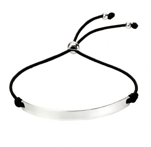 Silver iD bracelet with black string pulls-FREE Engraving offer